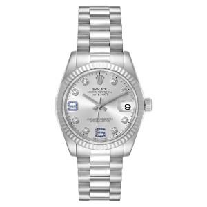 Rolex President Midsize White Gold Sapphire Diamond Ladies Watch 178279