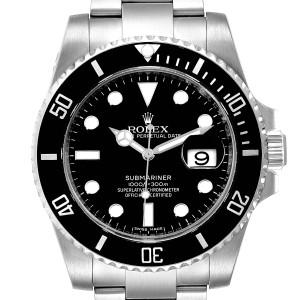 Rolex Submariner Ceramic Bezel Black Dial Steel Mens Watch 116610
