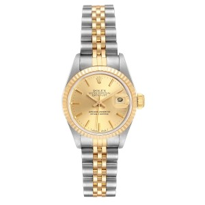 Rolex Datejust Steel Yellow Gold Fluted Bezel Ladies Watch 69173 Box Papers