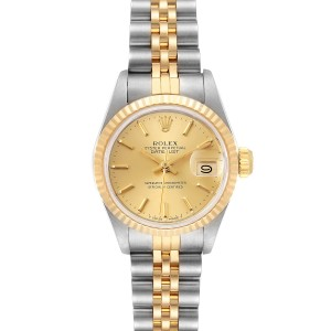 Rolex Datejust Steel Yellow Gold Fluted Bezel Ladies Watch 69173 Box
