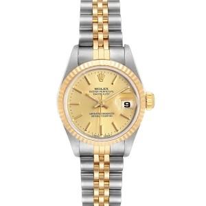 Rolex Datejust Steel Yellow Gold Fluted Bezel Ladies Watch 69173 Box
