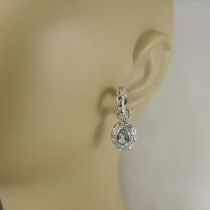 John Hardy Sterling Silver with 0.37ctw. Diamond and Aquamarine Batu Mata Charm Hoop Earrings