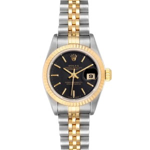 Rolex Datejust Steel Yellow Gold Black Dial Ladies Watch 69173 Box Papers