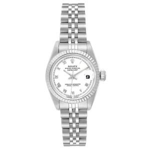Rolex Datejust 26 Steel White Gold Roman Dial Ladies Watch 69174