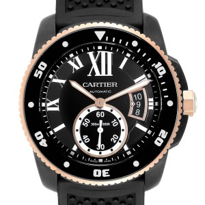 Cartier Calibre DiverCarbon Rose Gold Rubber Mens Watch W2CA0004 Box Papers