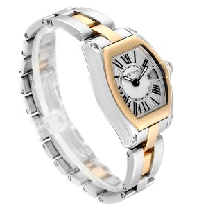 Cartier Roadster Silver Dial Steel Yellow Gold Ladies Watch W62026Y4