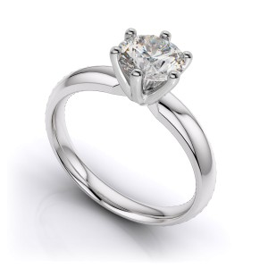6-Prong Platinum Solitaire Setting Mounting