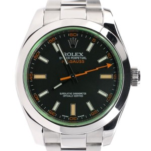 Rolex Milgauss 40MM Stainless Steel Black Stick Dial Watch 116400V Box Papers 2014