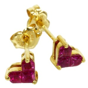Star 18K Yellow Gold Heart Ruby Earrings