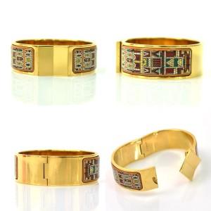 Hermes Gold Tone Metal Bangle Bracelet