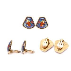 Hermes Enamel And Gold Metal Earring