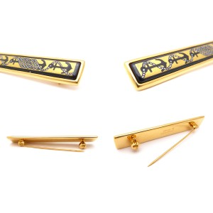 Hermes Gold Tone Metal Brooch