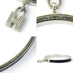 Hermes H Lock Metal Leather Bangle Bracelet