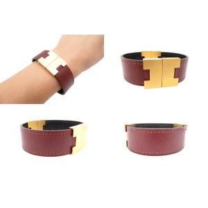 Hermes Metal Gold And leather Bangle Bracelet