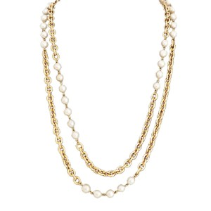 Chanel Metal Simulated Glass Pearl Necklace