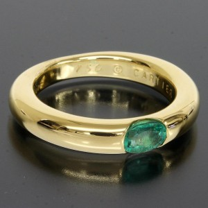 Cartier 18k Yellow Gold Emerald Band Ring