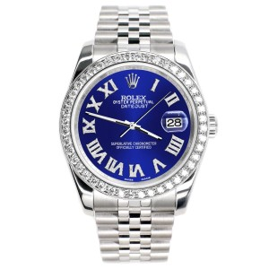 Rolex Datejust 116200 36mm 2.0ct Diamond Bezel/Navy Blue Diamond Roman Dial Steel Watch