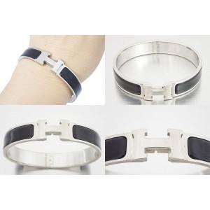 Hermes Silver Tone Metal Black Enamel Bracelet