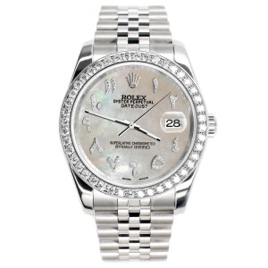Rolex Datejust 116200 36mm 2ct Diamond Bezel/Champagne MOP Diamond Arabic Dial Steel Watch