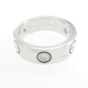 Cartier 18K White Gold & 0.22ct Diamond Love Ring Sz 4.5