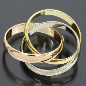 Cartier 18K Pink White Yellow Gold Trinity Ring Size 52