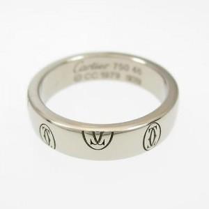 Cartier 18K White Gold Happy Birthday Ring Size: 3.75