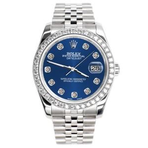 Rolex Datejust 116200 36mm 1.85ct Diamond Bezel/Cobalt Blue Diamond Dial Steel Watch