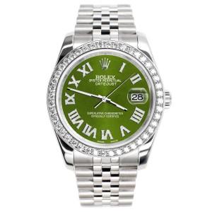 Rolex Datejust 116200 36mm 2.0ct Diamond Bezel/Royal Green Diamond Roman Dial Steel Watch