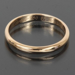 Cartier 18K Rose and Pink Gold Simple Wedding Band Ring US Size 6