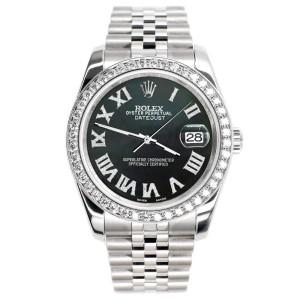 Rolex Datejust 116200 36mm 2.0ct Diamond Bezel/Black MOP Diamond Roman Dial Steel Watch