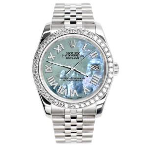 Rolex Datejust 116200 36mm 2.0ct Diamond Bezel/Tahitian Blue Diamond Roman Dial Steel Watch