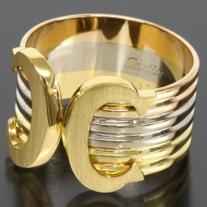 Cartier 18K White Yellow And Rose Gold Ring Size: 6.75