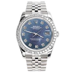Rolex Datejust 116200 36mm 1.85ct Diamond Bezel/Black Pearl Diamond Dial Steel Watch