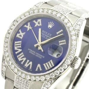 Rolex Datejust 36mm Steel Watch With 7.1ct Diamond Bezel/Lugs/Bracelet/Roman Diamond Dial