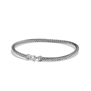 David Yurman Sterling Silver 0.05ct Diamonds Cable Buckle Bracelet