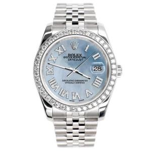 Rolex Datejust 116200 36mm 2.0ct Diamond Bezel/Sky Blue MOP Diamond Roman Dial Steel Watch