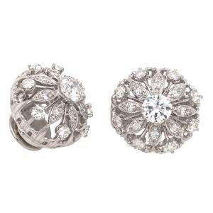 Platinum Diamond Button Clip-On Earrings