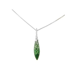 SALAVETTI 18K WHITE GOLD DIAMOND AND TSAVORITE GARNET PENDANT AND CHAIN