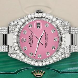 Rolex Datejust II 41mm Diamond Bezel/Lugs/Bracelet/Hot Pink Diamond Dial Steel Watch 116300