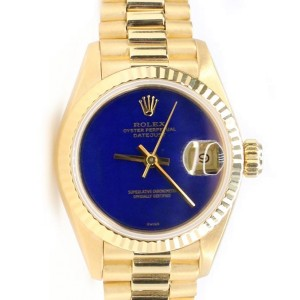 Rolex President Datejust 26MM Blue Lapis Lazuli Dial Yellow Gold Watch