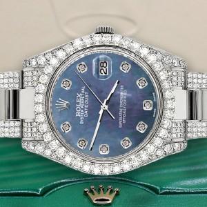 Rolex Datejust II 41mm Diamond Bezel/Lugs/Bracelet/Black Pearl Diamond Dial Steel Watch 116300