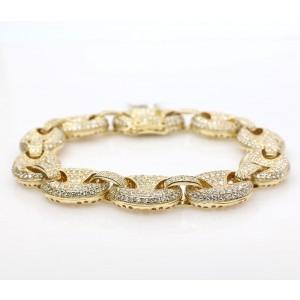 14K Yellow Gold 7.98ct Diamond bracelet with GG link
