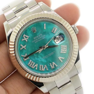Rolex Datejust II 41MM White Gold and steel Watch w/Royal Turquoise MOP Diamond Dial 116334