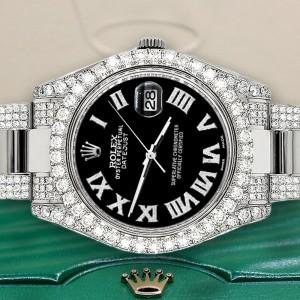 Rolex Datejust II 41mm Diamond Bezel/Lugs/Bracelet/Black Roman Dial Steel Watch 116300