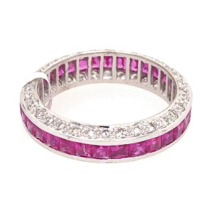 18k White Gold Pink Sapphire and Diamond Band Ring