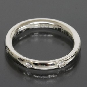 Van Cleef & Arpels Platinum 3P Diamond Marriage Wedding Band Ring