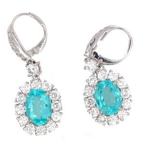 Certified Rare Blue Paraiba and Diamond Earrings