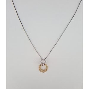 18K Tri-Tone Gold & Diamonds Circle Pendant Necklace