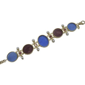 Tagliamonte Rose Gold Plated Over Sterling Silver with Venetian Glass Cameos Rubies and Pearls Bracelet