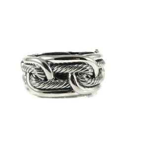 David Yurman Sterling Silver Linked Labyrinth Hinged Cuff Bracelet
